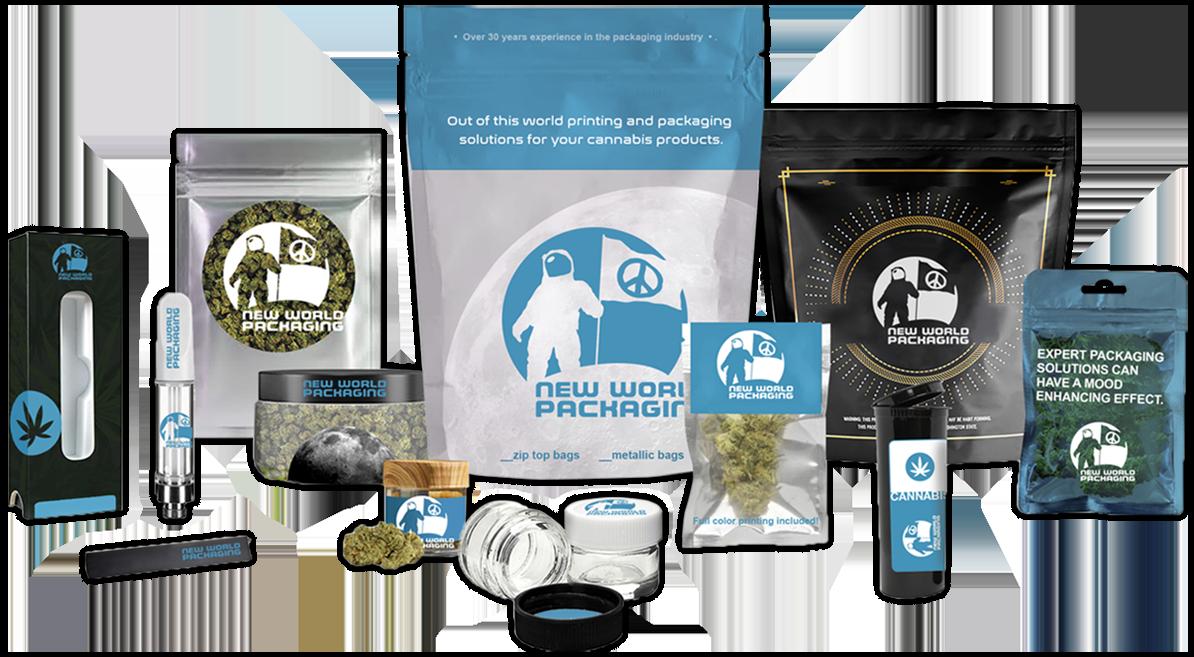 lineup of custom cannabis packaging