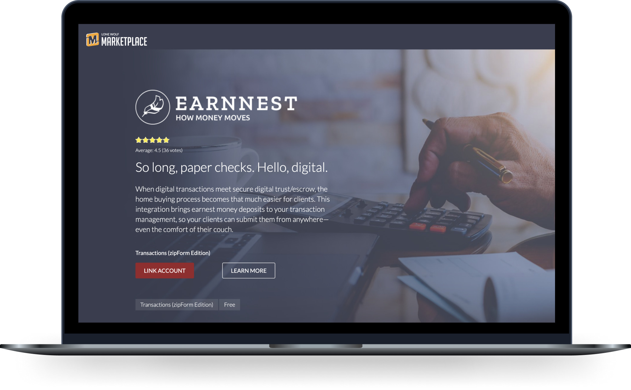 Laptop computer showing Lone Wolf Marketplace page where you can link your account with Earnnest