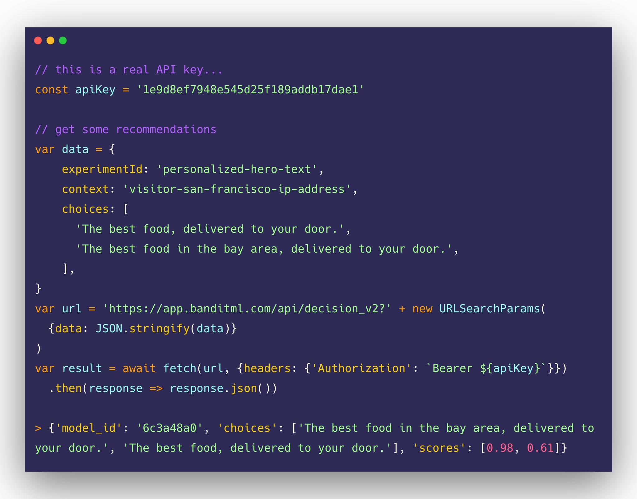 Code sample of Bandit ML API.