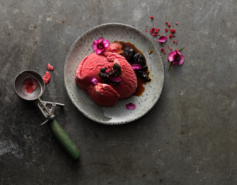 Summer Berry Sorbet with Prunes in Gin