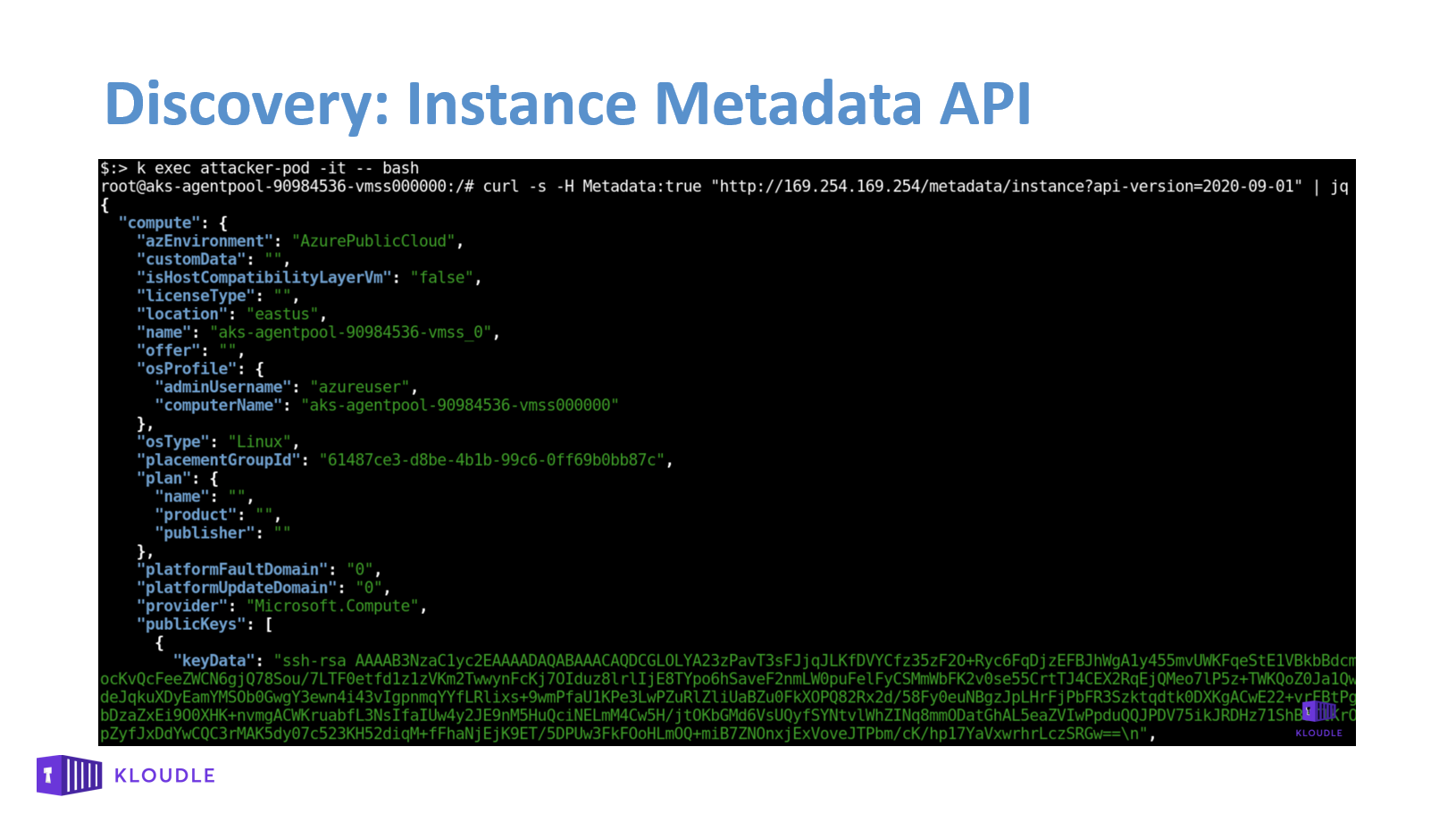 Discovery Instance metadata API endpoint