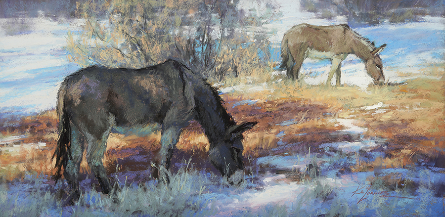 Landscape with donkeys drinking from stream.