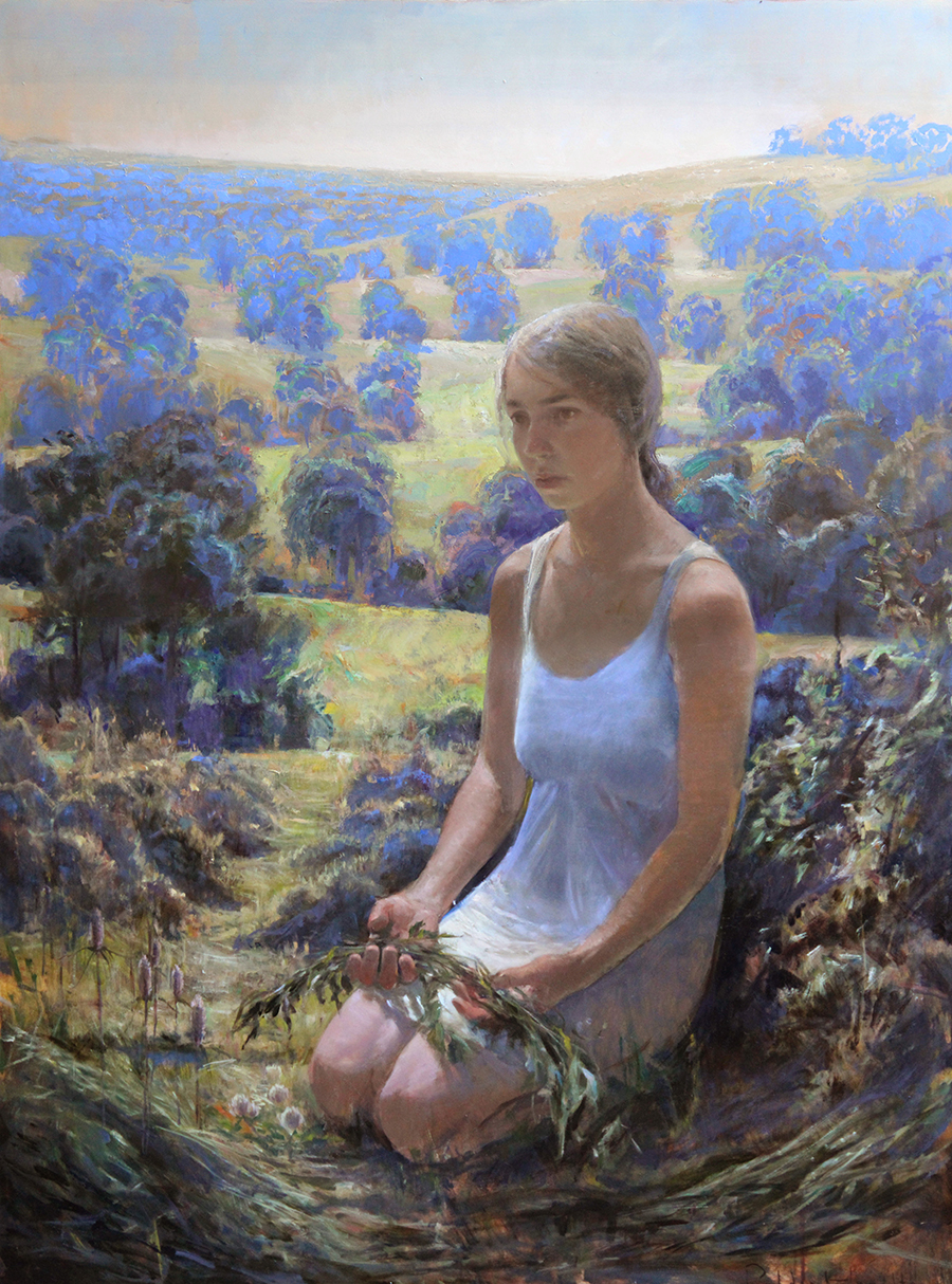 Beautiful figure of young woman kneeling on her knees in a lush landscape filled with greens and blues.