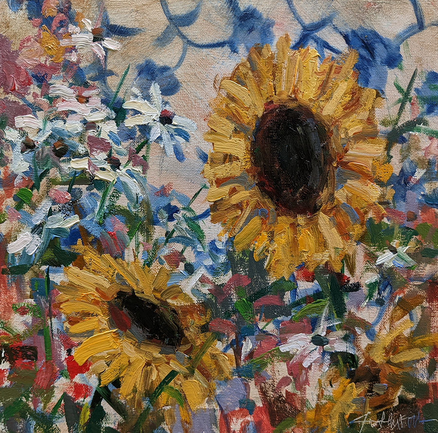 Painting of sunflowers with daisies