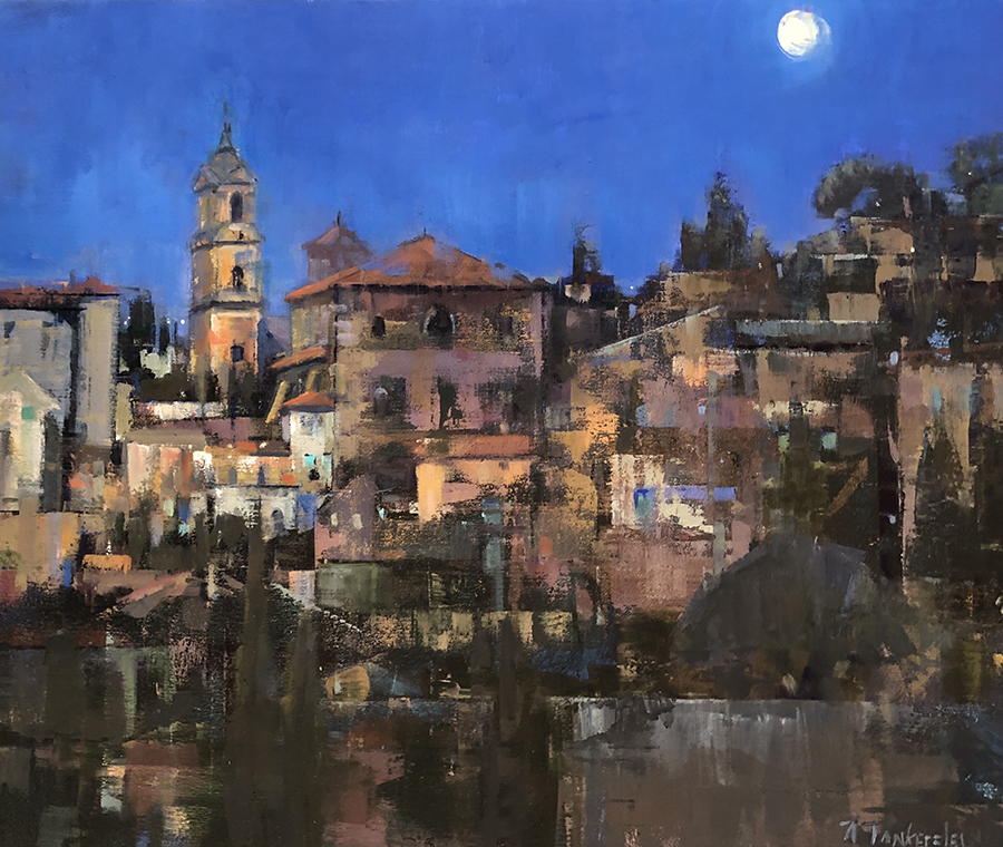 hill town in Italy's Umbria at night
