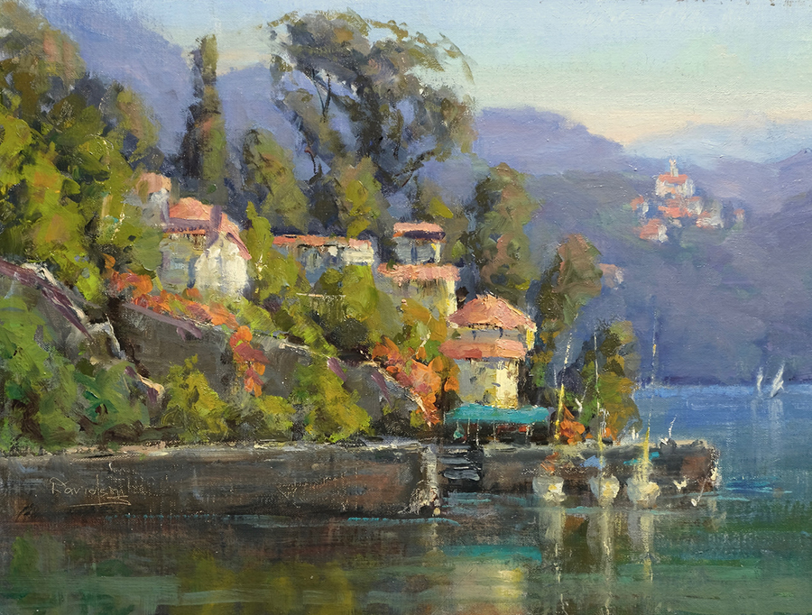 Italian Village on the water with mountains