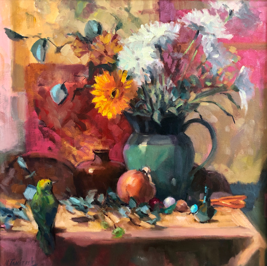 Still life of white and yellow flowers in green pitcher with other elements including a bird.