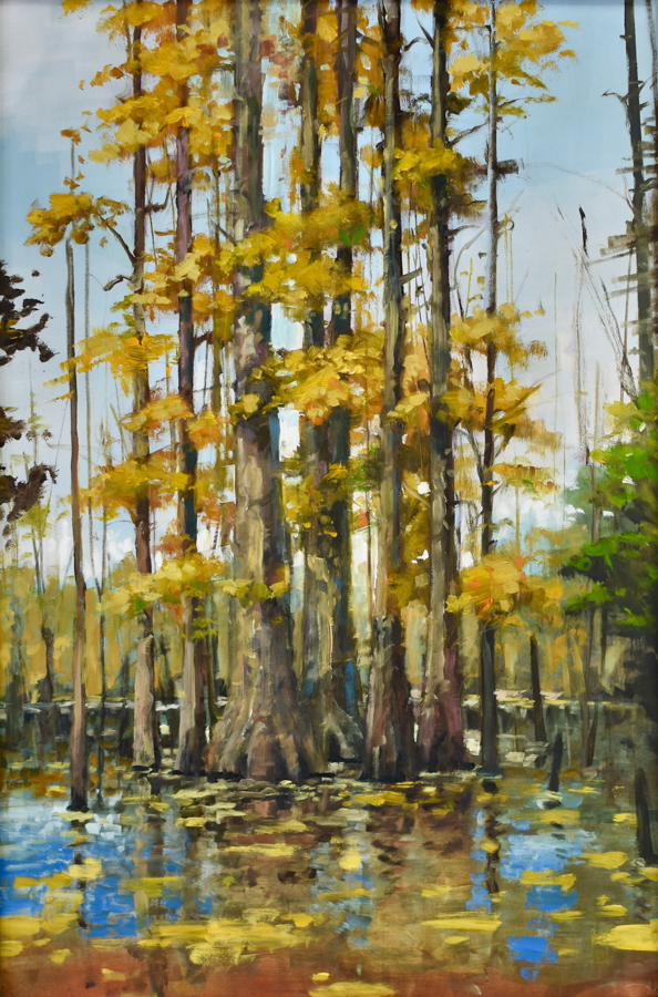 Fall color in a cypress swamp.