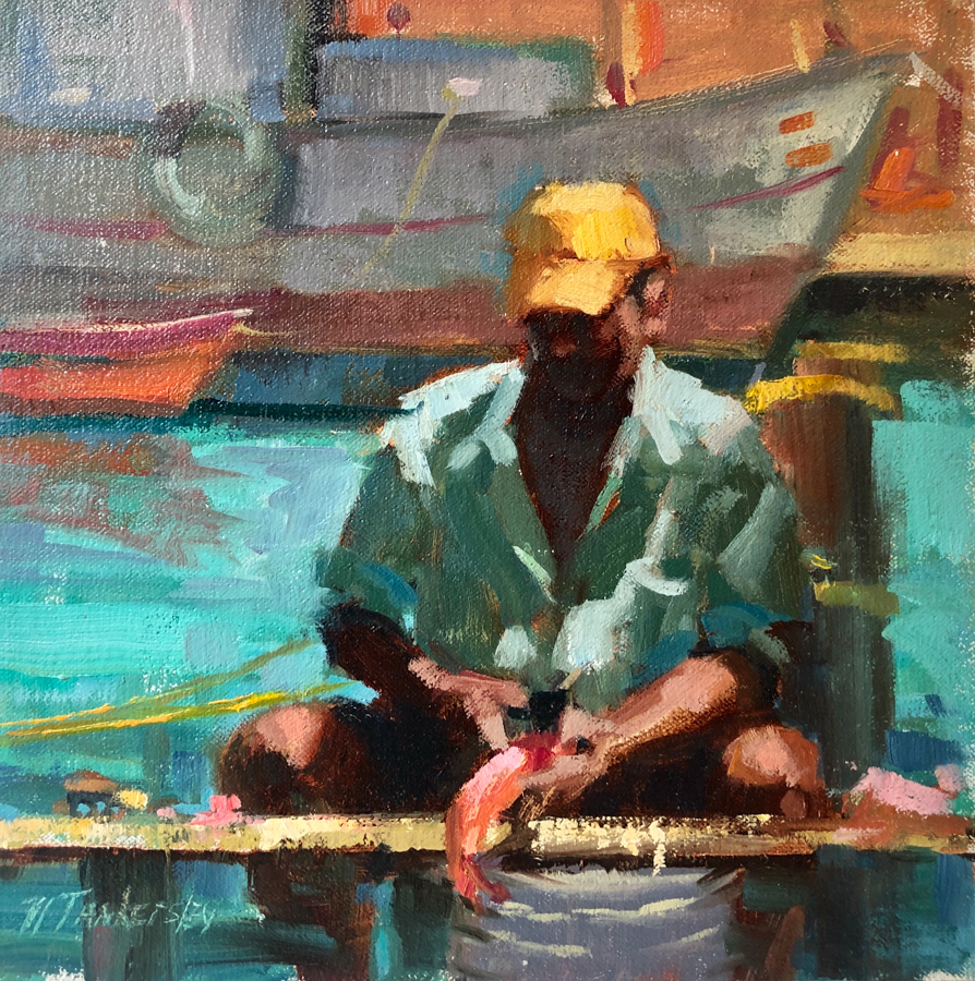 A man cleaning fish in his boat on the water with boats behind him. Aqua colors with oranges and a pop of yellow.