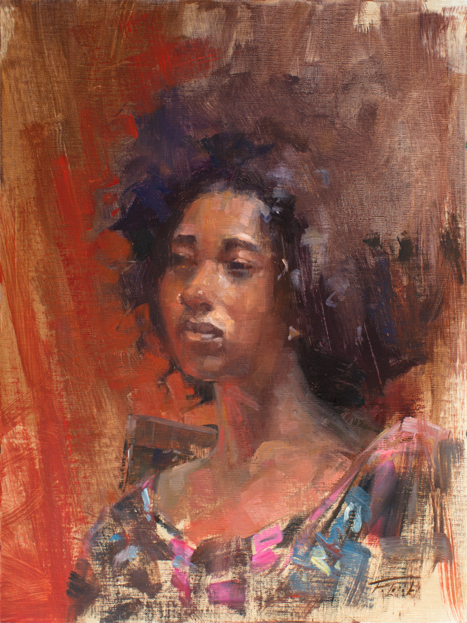 Portrait sketch of African American woman with lots of.deep earth colors of oranges and reds in background