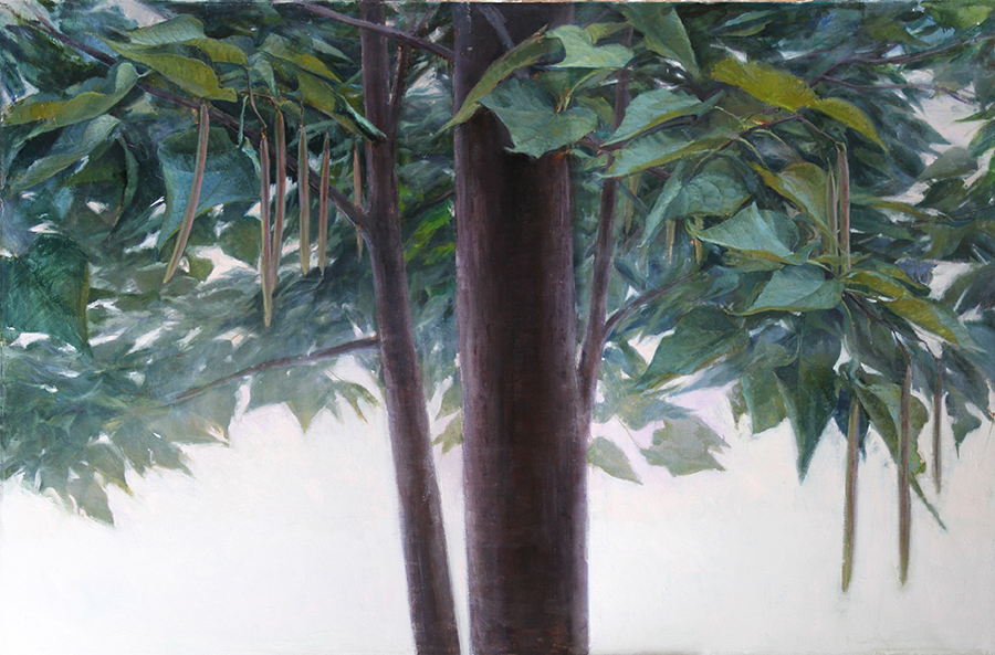 Painting of a large, leafy tree canopy.