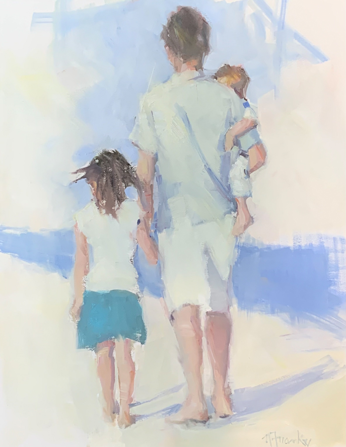 Back of father holding baby and walking daughter