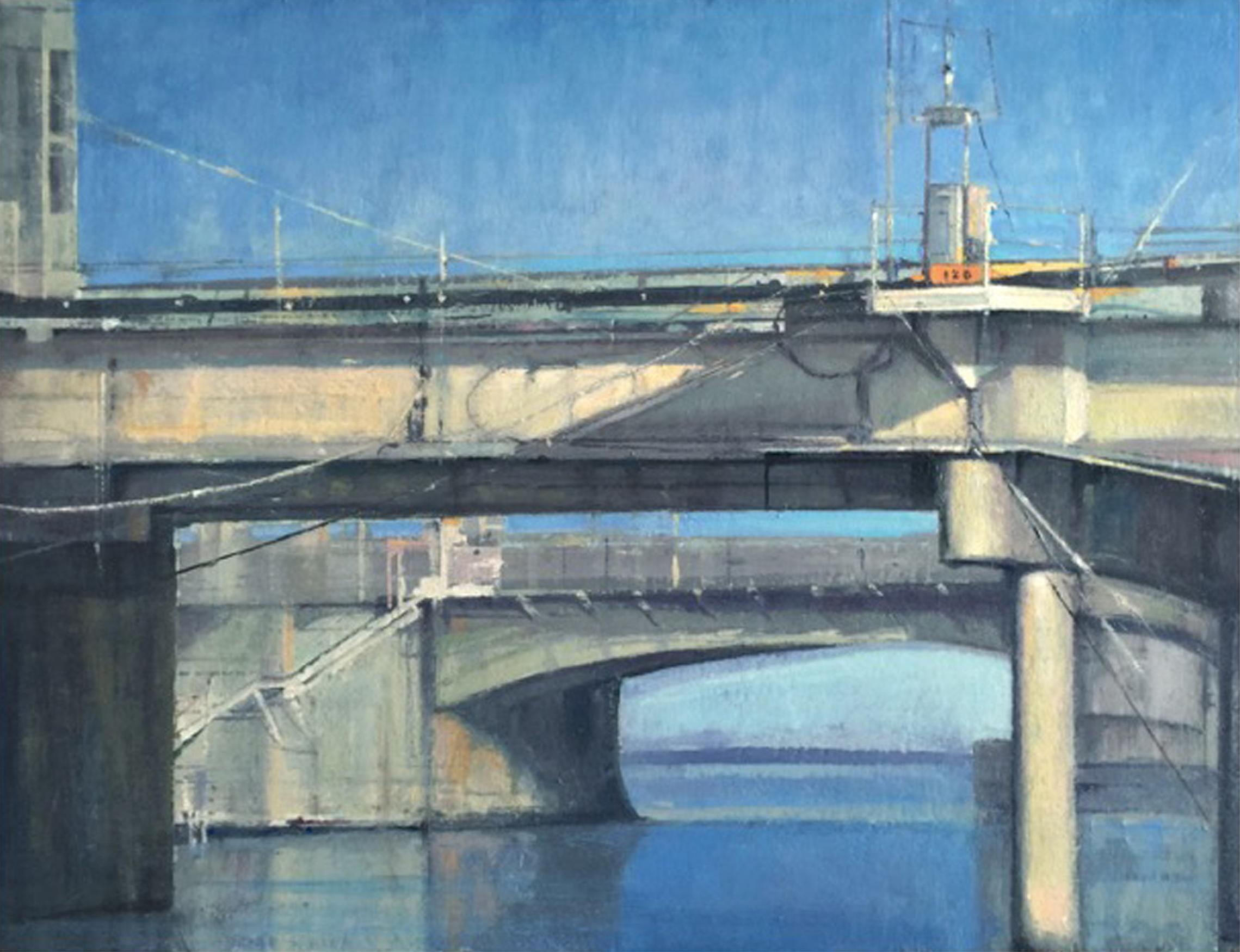 abstract bridge water flowing through