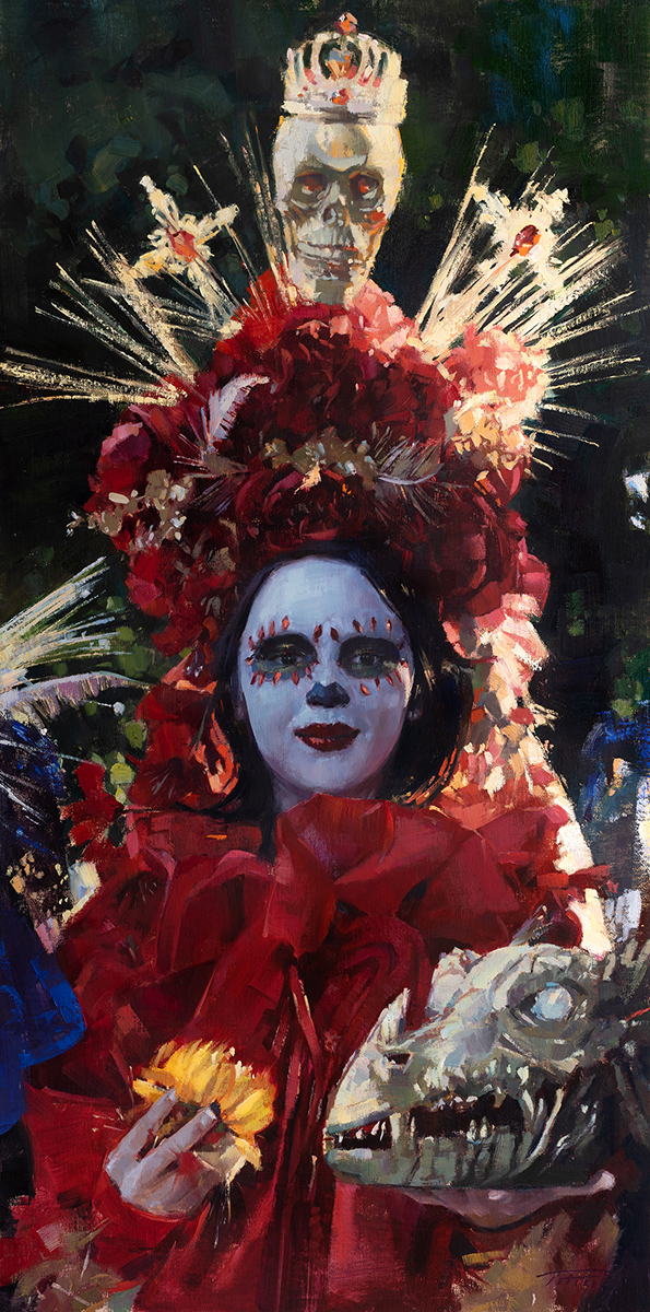 Young woman in full costume for Day of the Dead celebration, lots of reds with pops of blues and yellows.