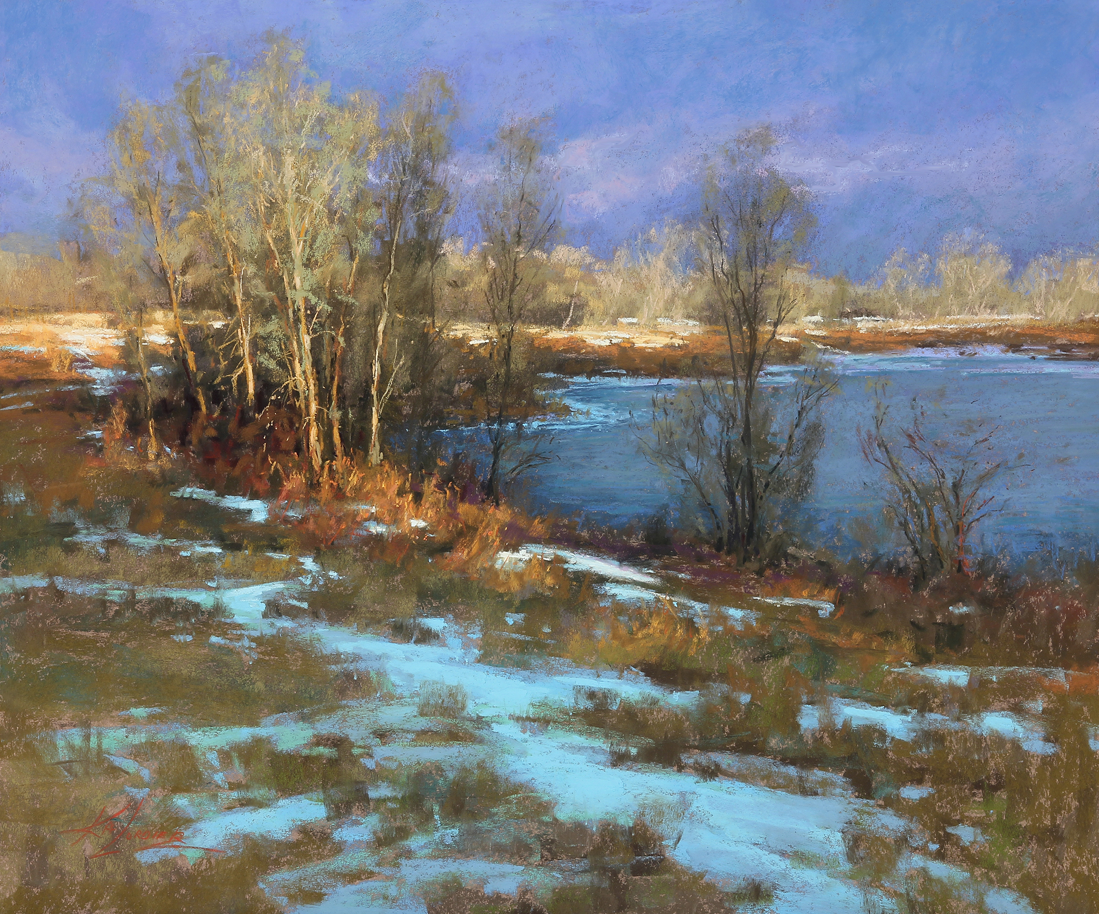 Landscape showing river bend and snow.
