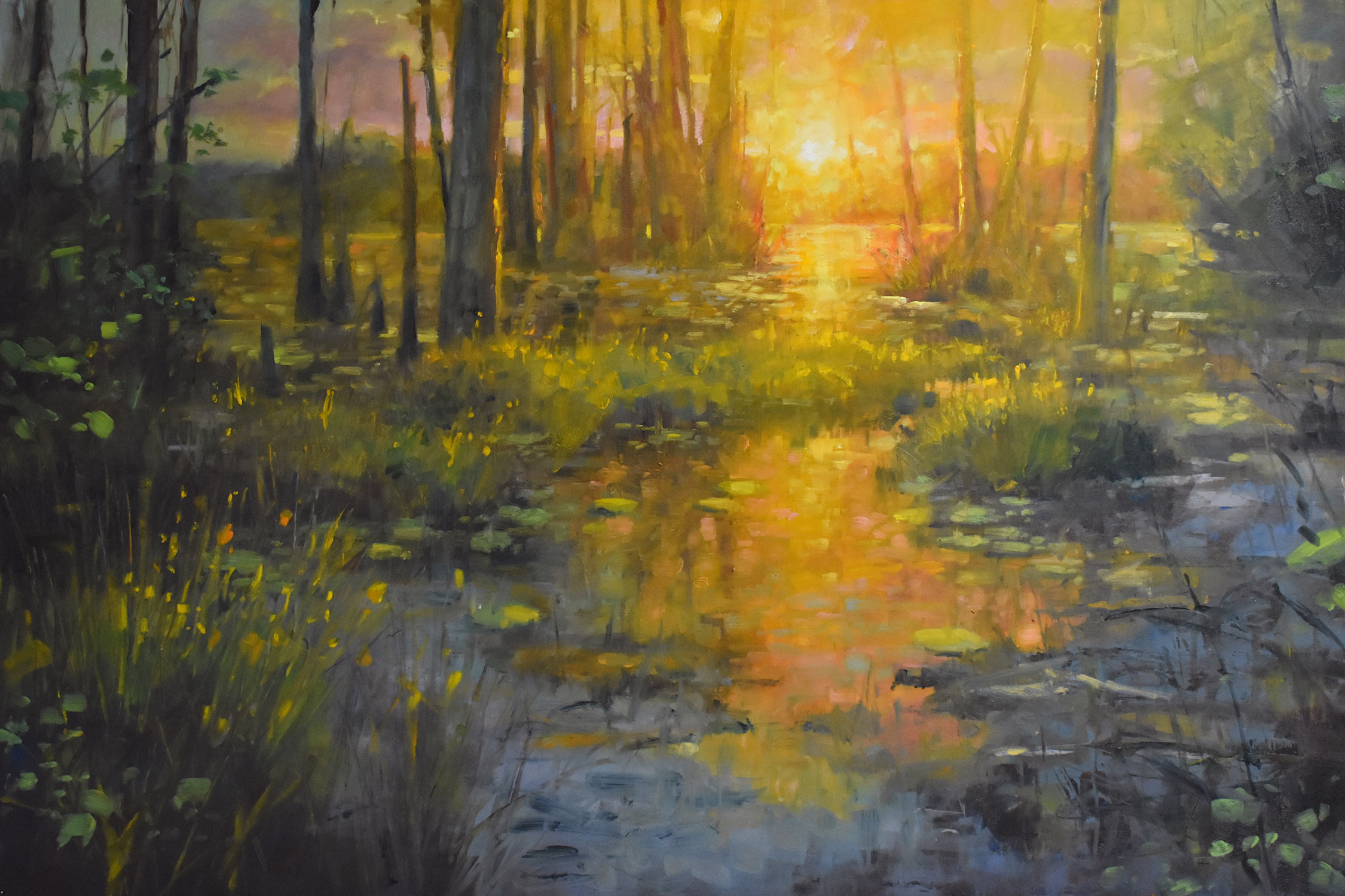 yellow and gold toned forest scene with creek