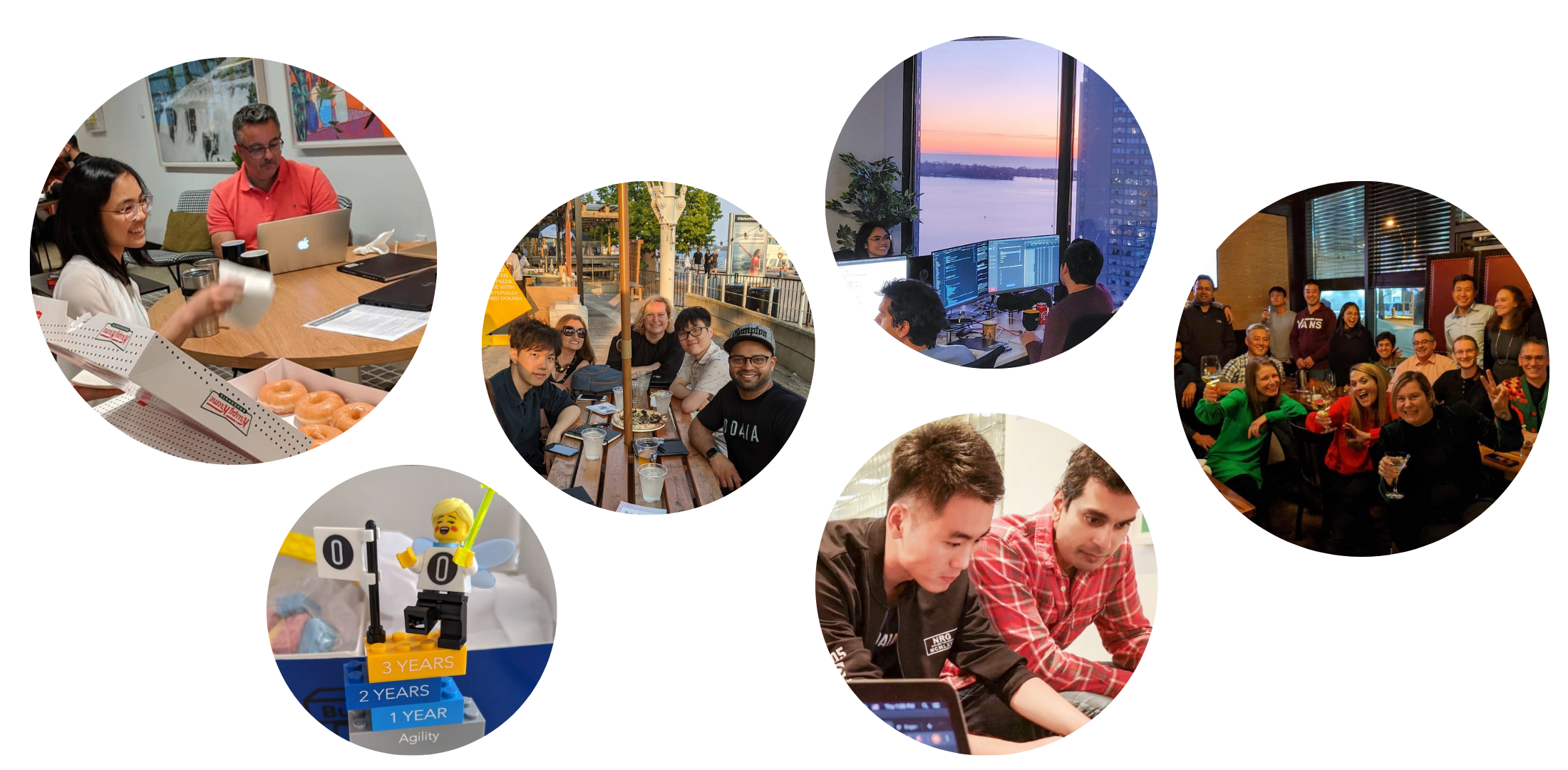A collage of images of life at odaia: the team getting together for events, working collaboratively, and having fun