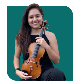 Trala student holding a violin.