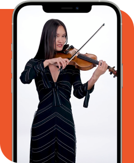 woman playing violin on a smartphone.