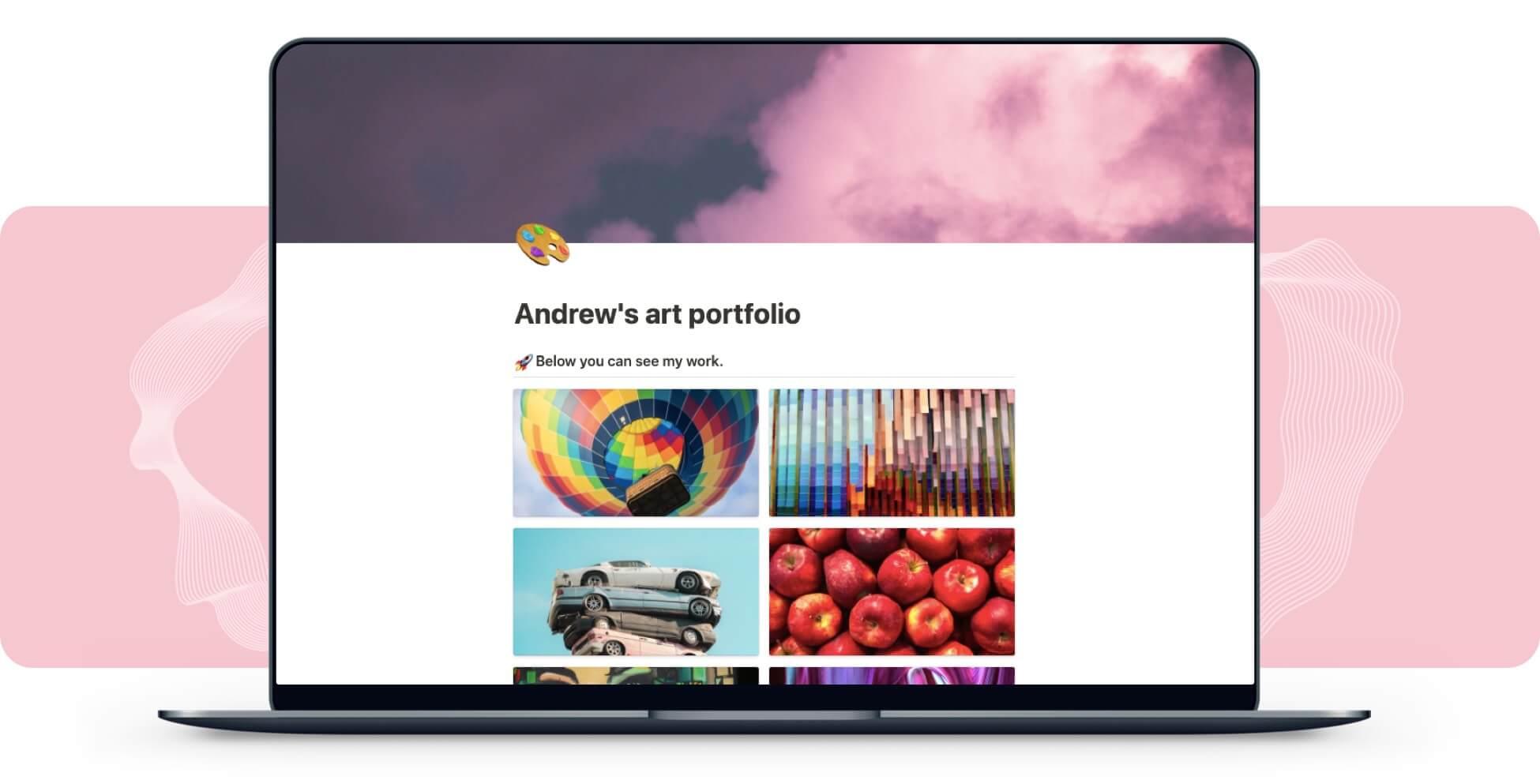 Art Portfolio Website Builder In Notion
