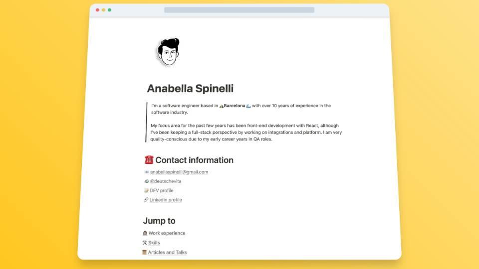 Anabella CV website template