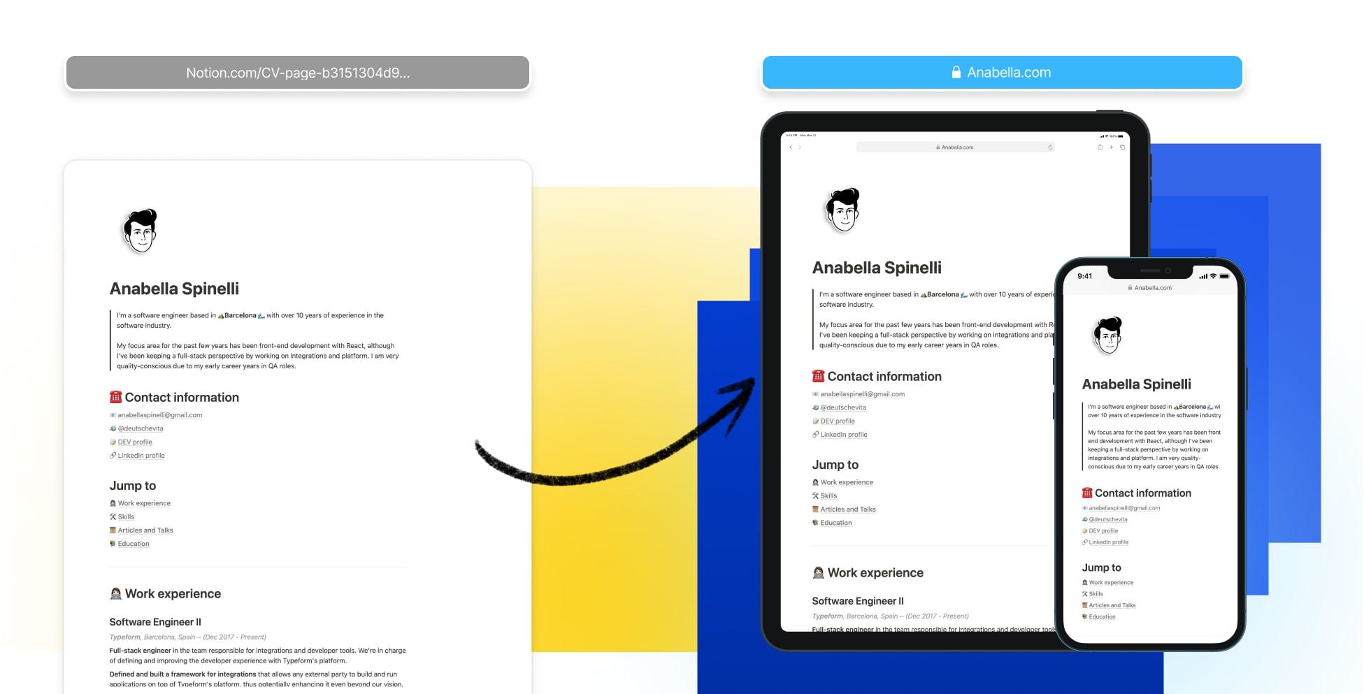 CV Resume Website Builder in Notion