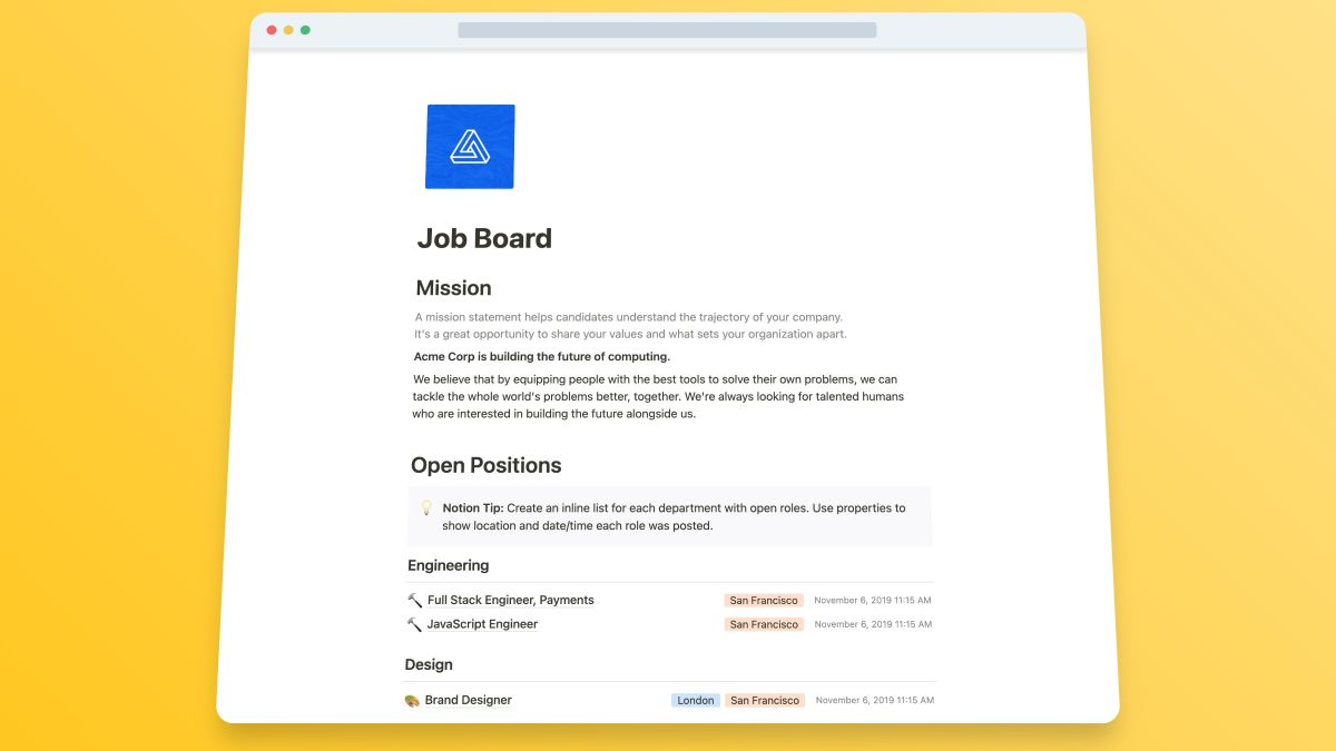 Job Board template for Notion a website