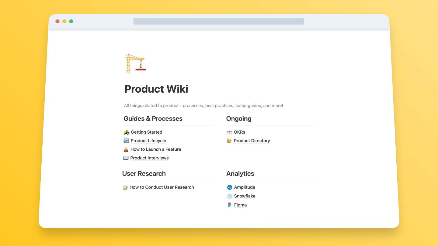 Product Wiki Template (from Notion)