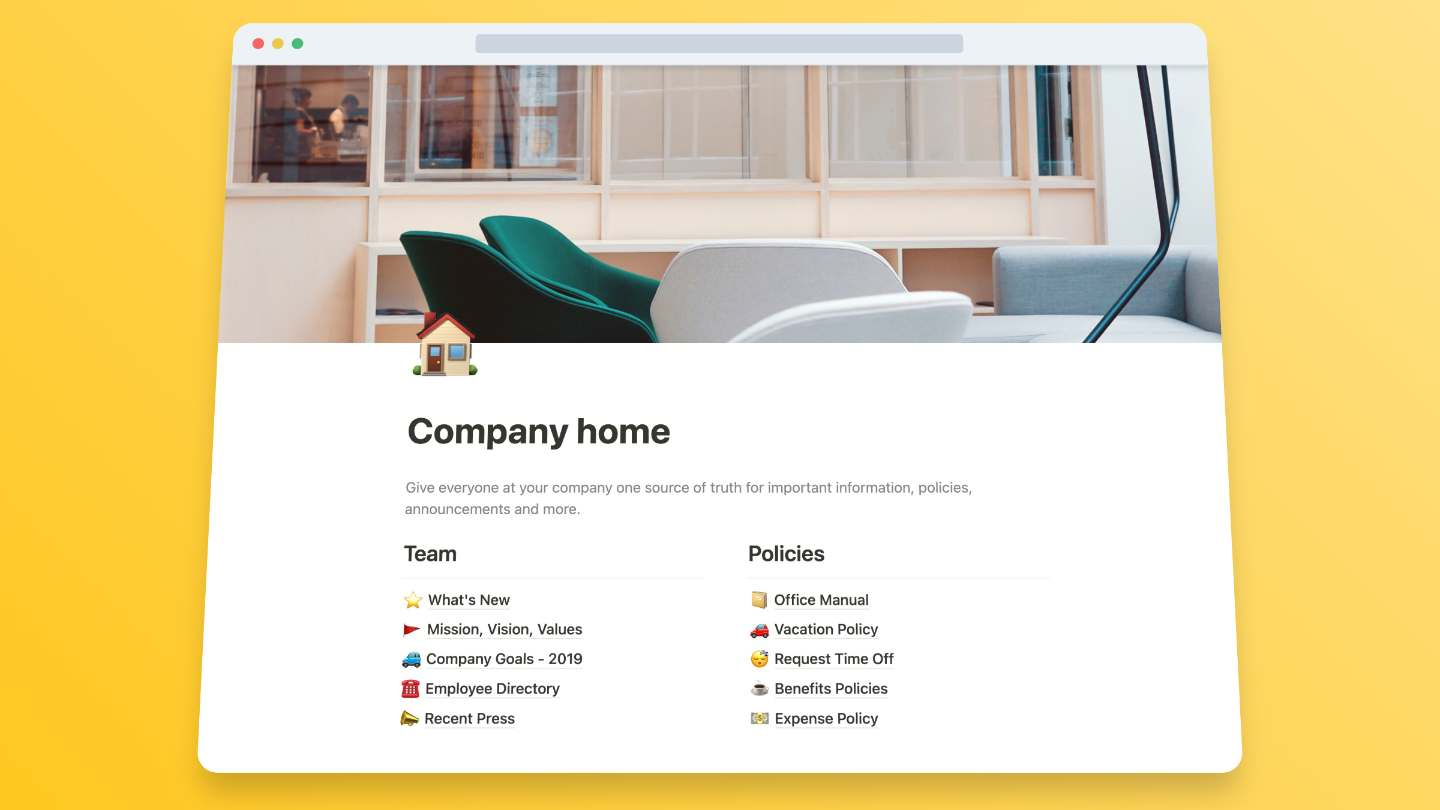 Company Docs Template for Notion