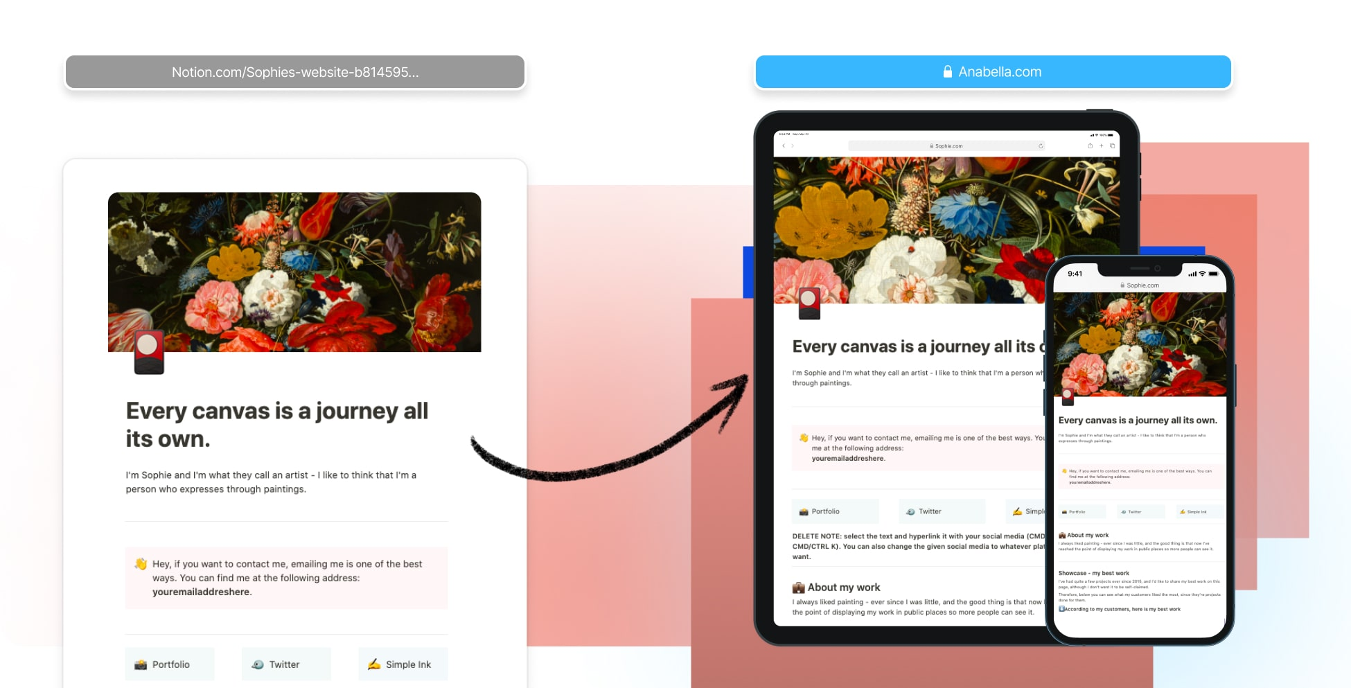 Create an artist website in Notion