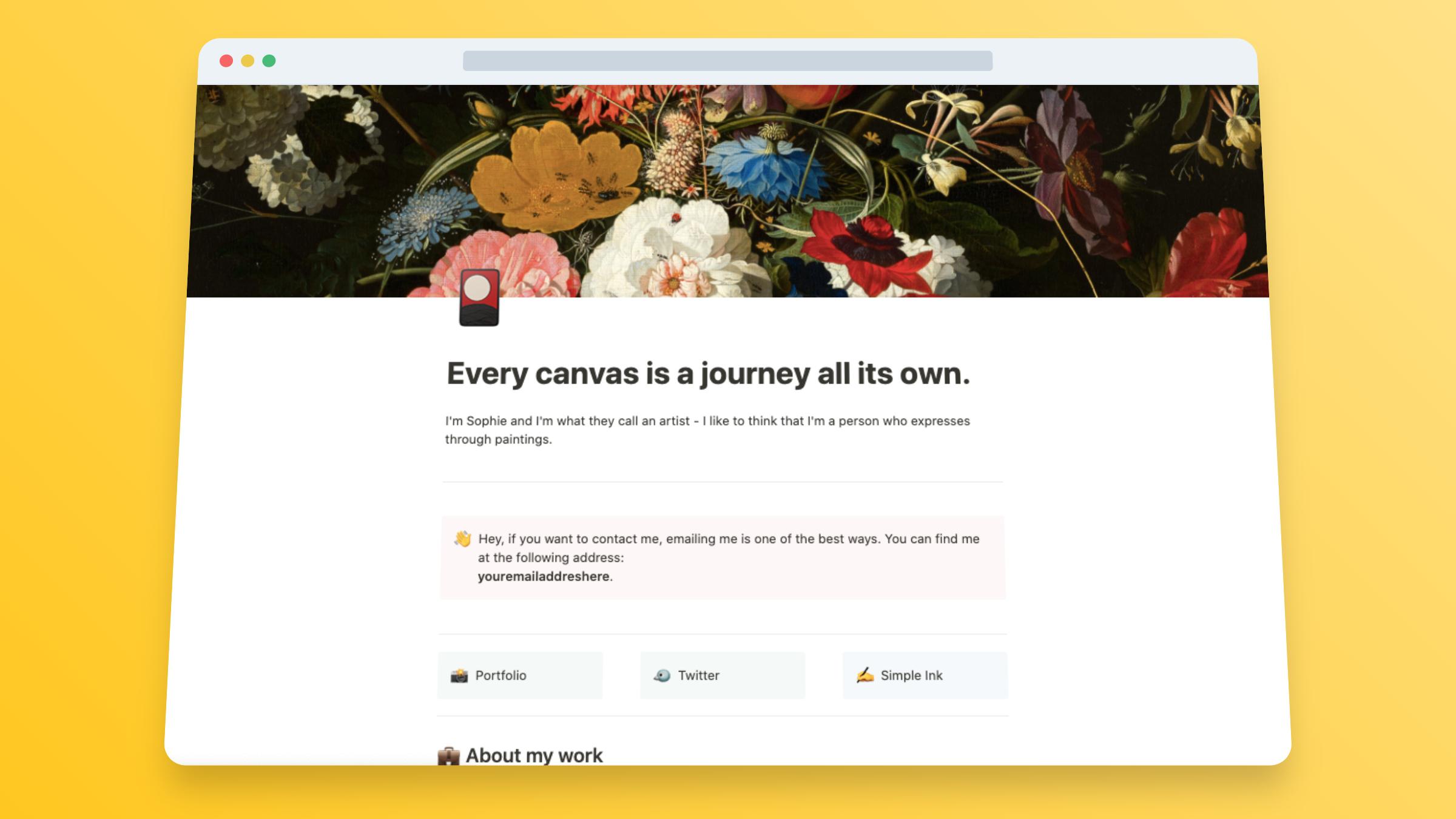 Artist Website Builder In Notion