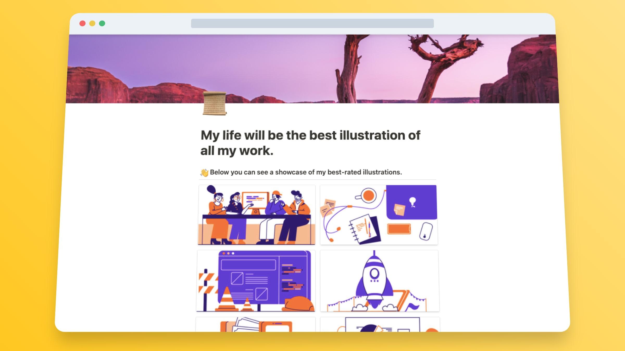Illustrator Website Template In Notion