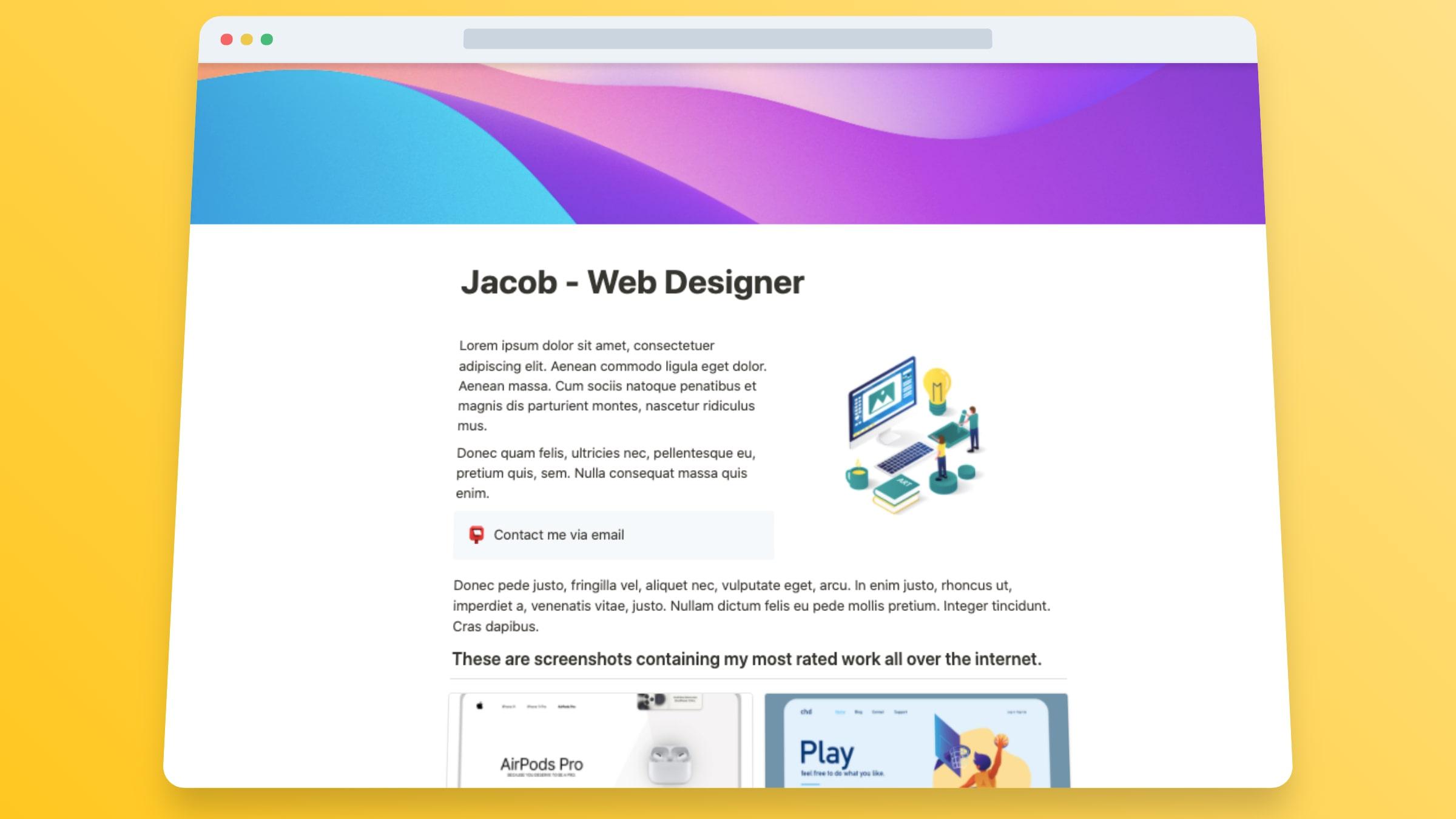 Designer Portfolio Website Template - Jacob