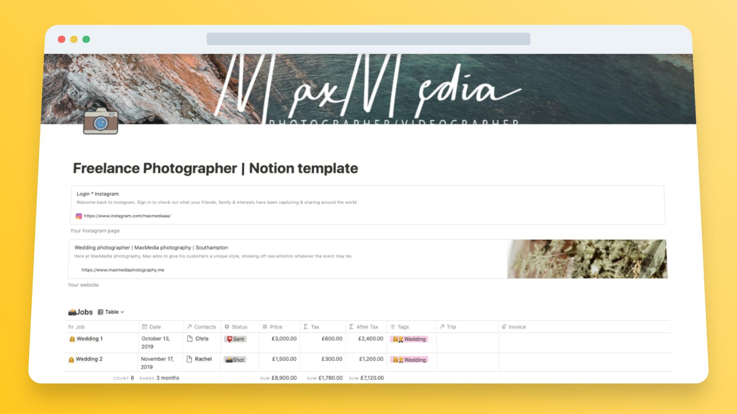 Photography Freelancer Portfolio Website Template