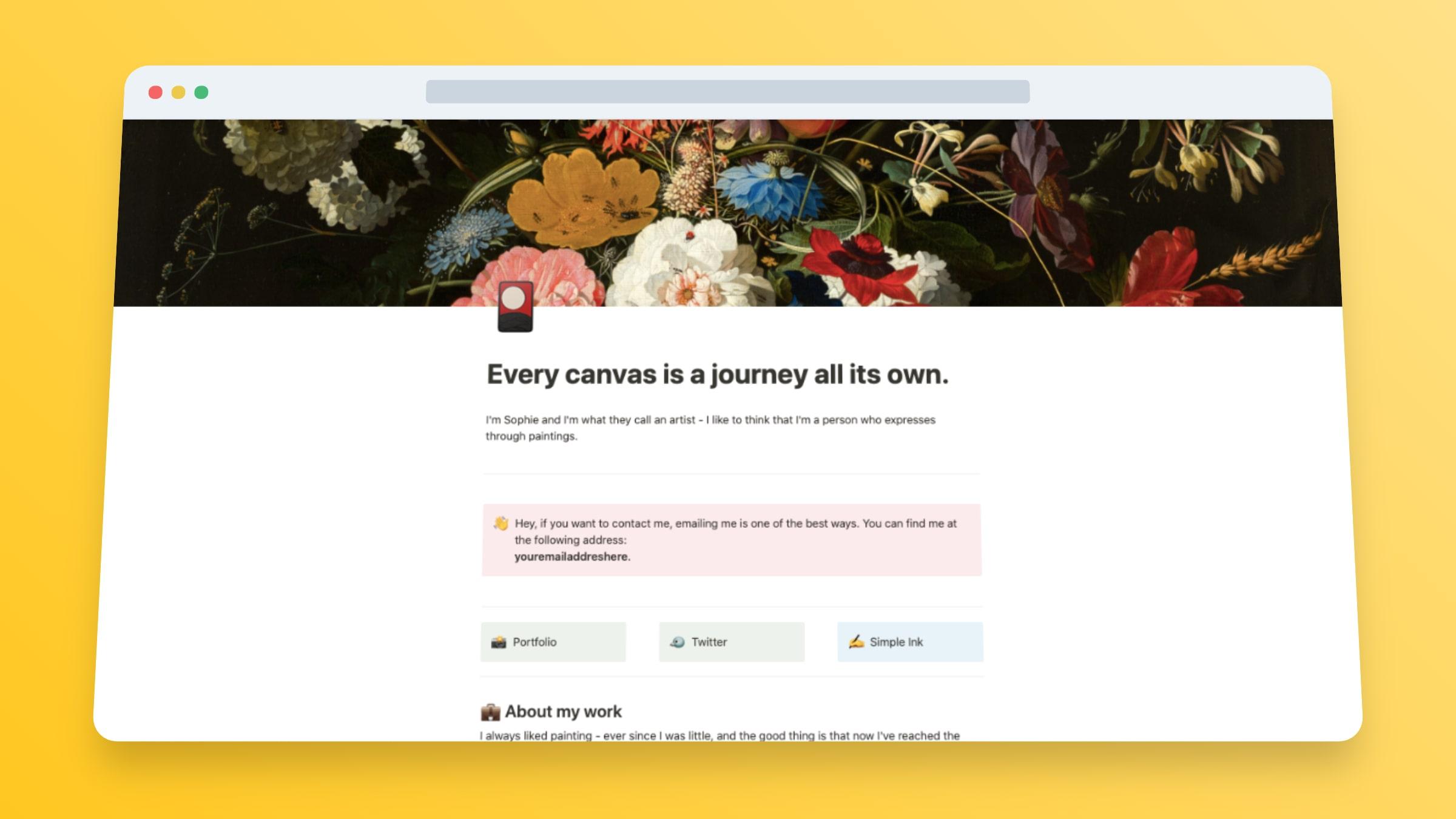 Personal Website Template: Artist