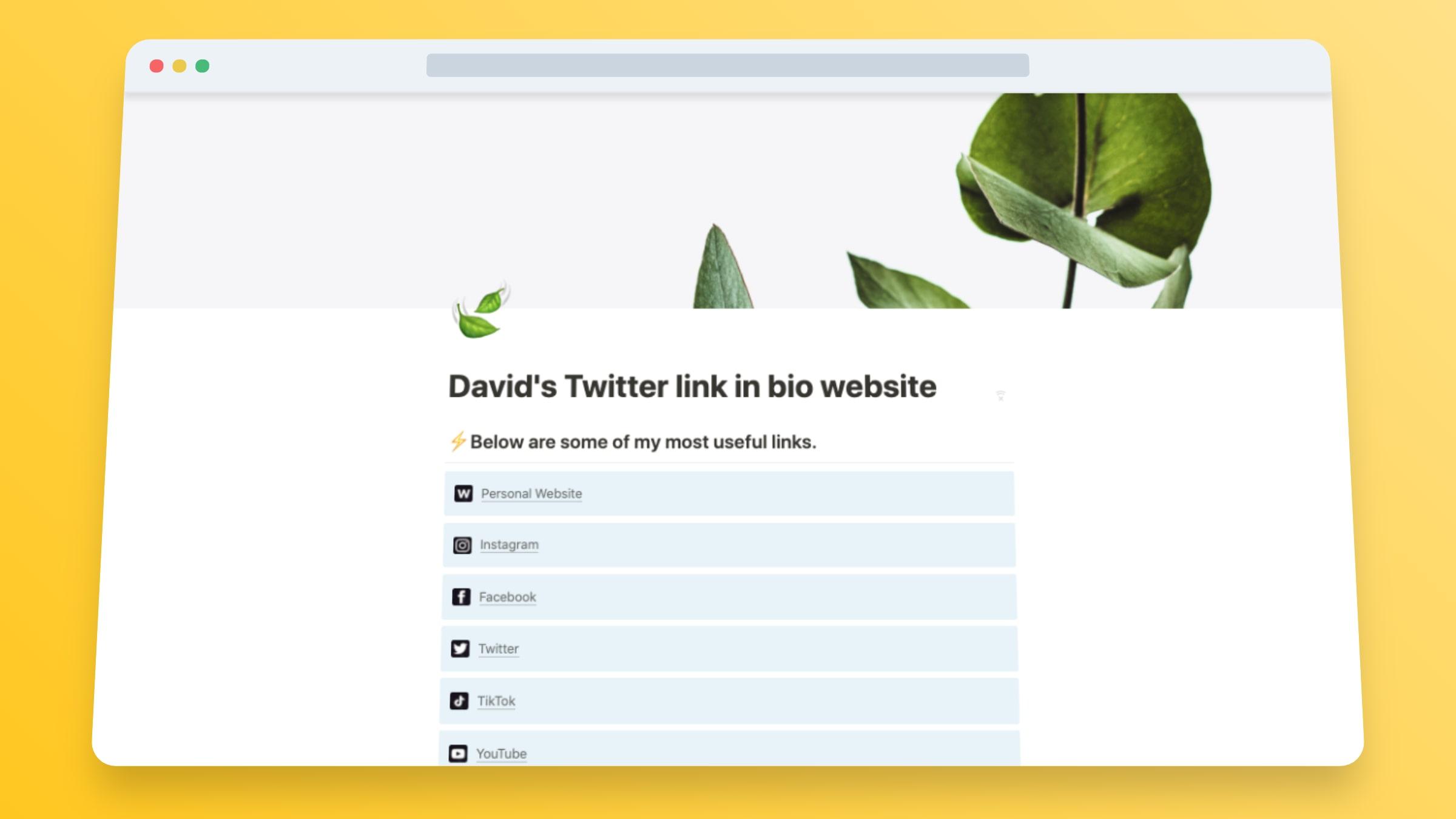 Twitter Link In Bio Website Template in Notion