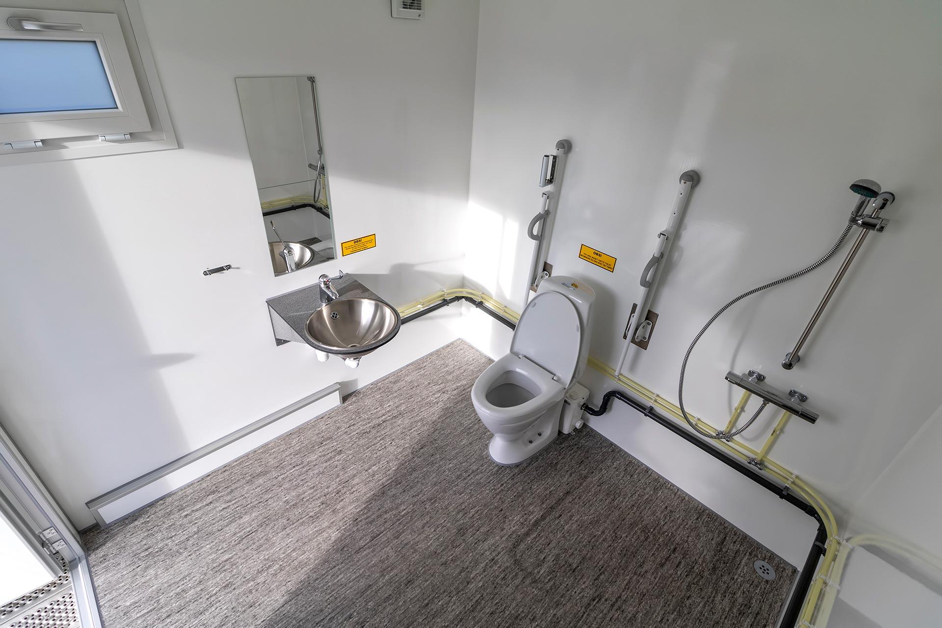 Handicap toiletvogn indefra