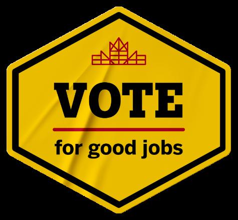 Yellow vote for good jobs sticker.