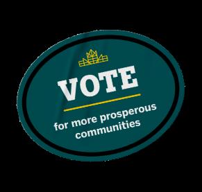Vote for more prosperous communities sticker.