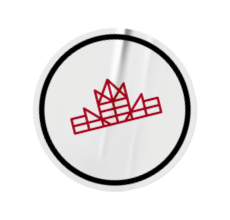 Let's Build Canada white and red brand mark sticker.
