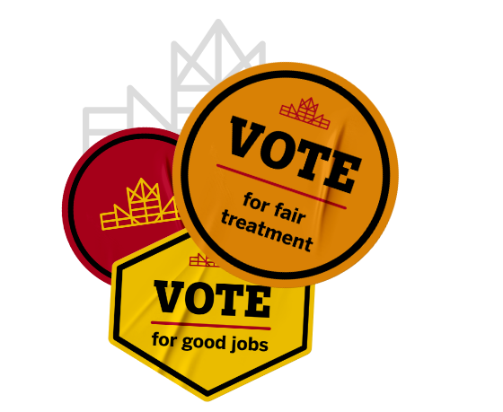 Let's Build Canada red and yellow brand mark sticker with other stickers that call to vote for fair treatment and for good jobs.