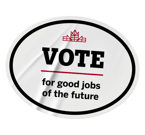 Grey badge that calls to vote for good jobs of the future