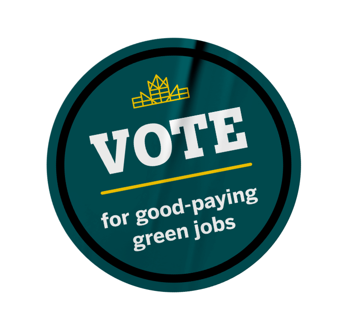 Green badge that calls to vote for good paying green jobs