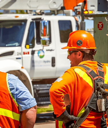 Two electricians standing near the  pole with an ejector shield