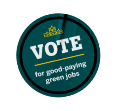 Vote for good-paying green jobs sticker.
