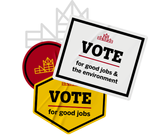 Let's Build Canada red and yellow brand mark sticker with other stickers that call to vote for good jobs and the environment and for good jobs.