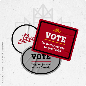 Vote for better access to good jobs social media post.