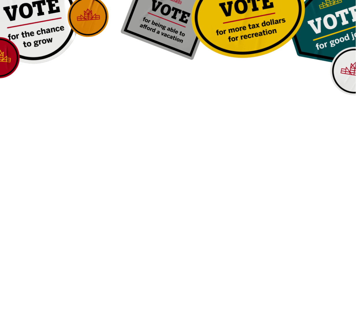 Group of decorative stickers call to vote.