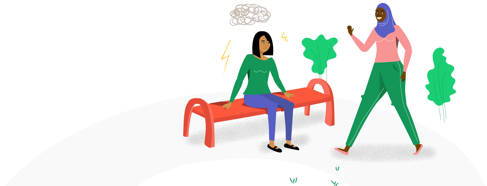 Illustration of woman waving to her friend whose face is downcast