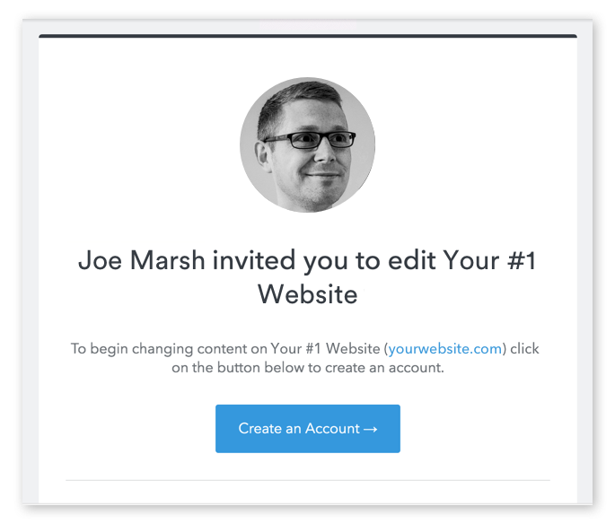 The invitation to edit email